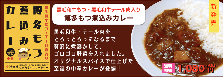 黒毛和牛もつ・テール肉入り★博多もつ煮込みカレー230g(1人前)