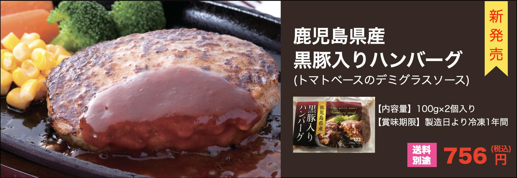 鹿児島県産 黒豚入りハンバーグ(デミグラスソース) 100g×2個入り